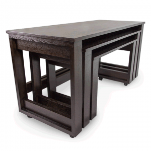wooden nesting tables with wheels